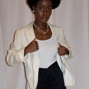 Emma James Liz Claiborne Cream Blazer with Pockets
